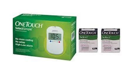 Picture of One Touch Combo Pack of Select Simple Glucometer with 20 Free Test Strips