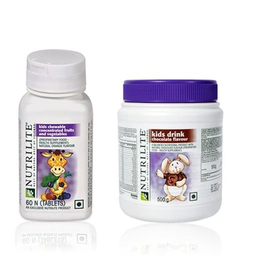 Picture of Amway Amway Nutrilite Kids Health Combo (Kids Drink Chocolate 500gm + Chewable Fruits & Vegetables 60 Tablet)