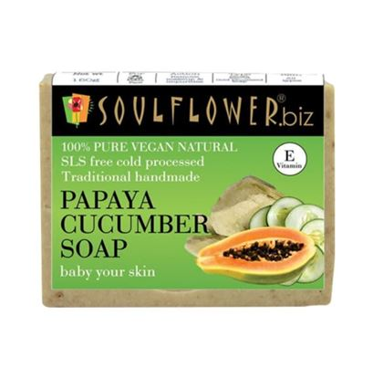 Picture of Soulflower Papaya Cucumber Soap