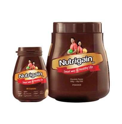Picture of Ayurwin Combo Pack OF Nutrigain Plus, 60Caps & Nutrigain Plus Powder, 500gm (Chocolate)