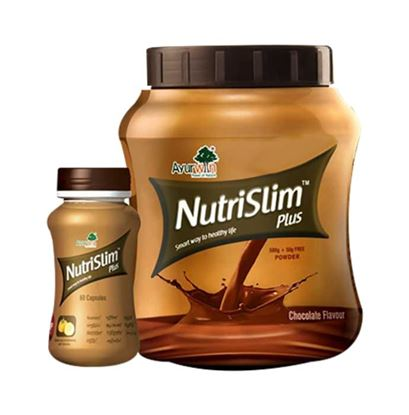 Picture of Ayurwin Combo Pack OF Nutrislim Plus, 60Caps & Nutrislim Plus Powder, 500gm (Chocolate)