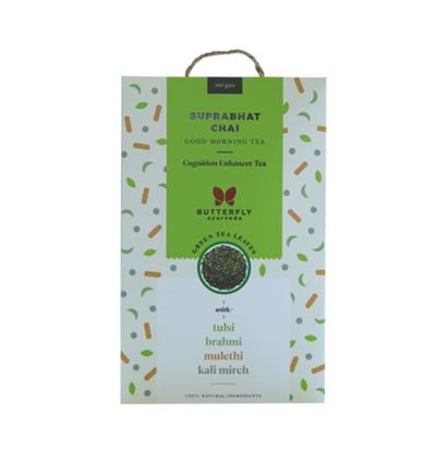 Picture of Butterfly Ayurveda Suprabhat Chai Green Tea Leaves with Tulsi